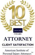 10 Best Attorney Award 2019-2021 American Institute of Personal Injury Attorneys™